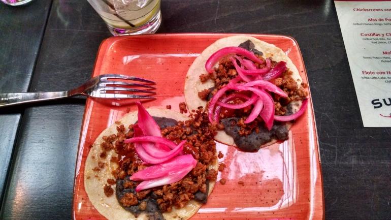 Chorizo Tacos at Que Bueno Suerte
